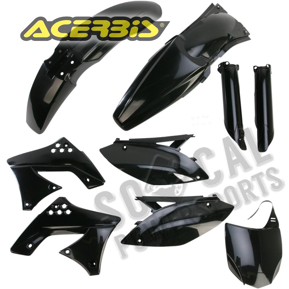 Acerbis Black Plastic Kit Kawasaki 2009-2012 KX 250 F KX250F Fenders Shrouds