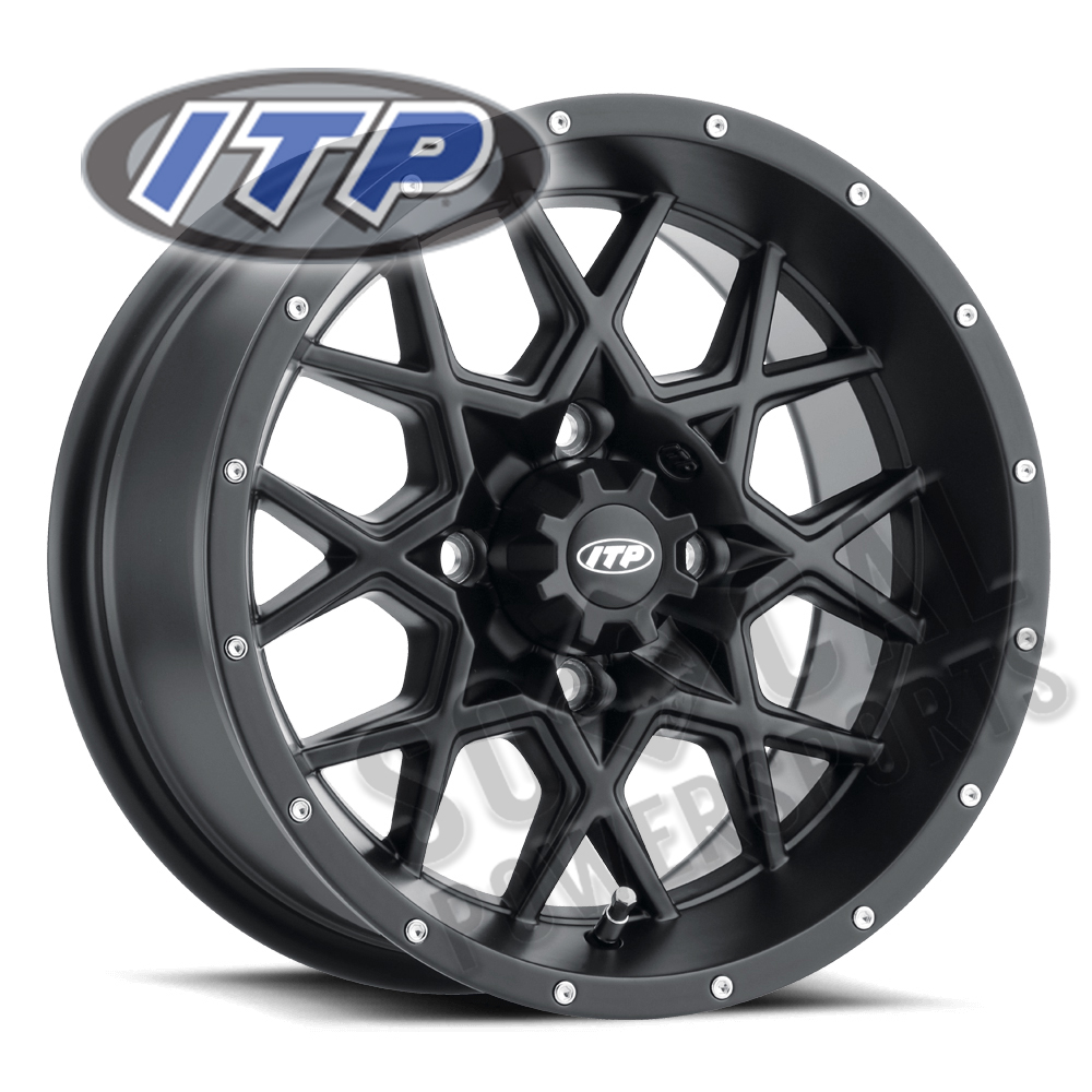 4//110 5+2 ITP Storm Series Hurricane Wheel 1228627536B Matte Black 12x7
