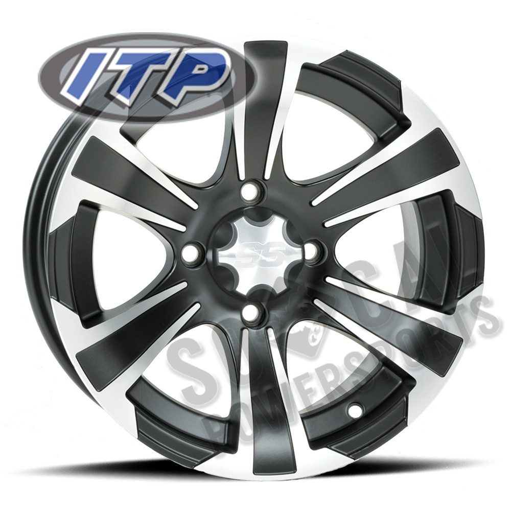 12x7//4x115mm ITP SS ALLOY SS212 Black Wheel with Machined Finish