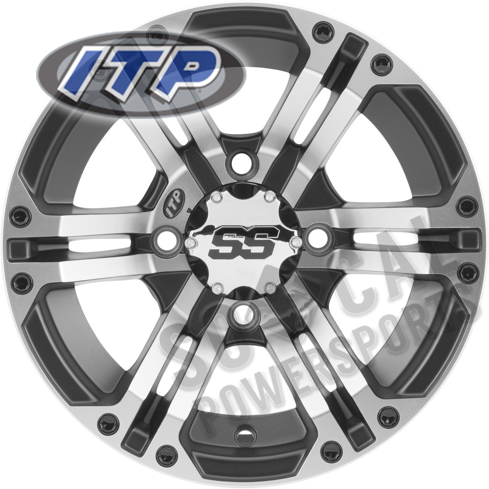14x7//4x110mm ITP SS ALLOY SS316 Matte Black Wheel with Machined Finish
