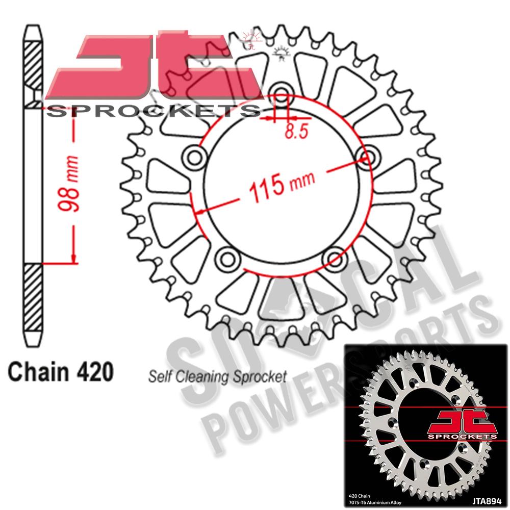 Automotive Sprockets JT Sprockets JTA894.46 46T Aluminum Rear ...