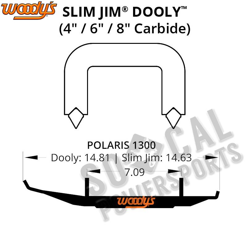 """Woodys Slim Jim Dooly Runner Polaris 340//550 Transport Trail Touring 08-09 4/"""""""